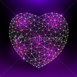Vector heart to Happy Valentine's Day consisting of polygons and points on dark violet background - PrintStocker.com