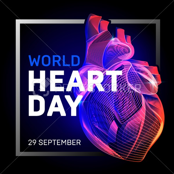 Vector human body heart with abstract 3d geometry lines and gradient waves art to medical world health heart day or medicine cardiology anatomy or  biology science organ wireframe on dark background - PrintStocker.com