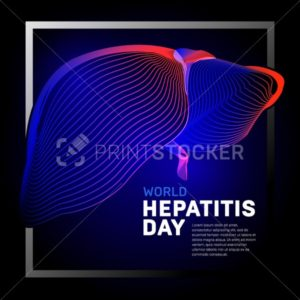 Vector human body liver with abstract 3d geometry lines and gradient waves art to medical world hepatitis day or medicine anatomy health biology science medical organ illustration on dark background - PrintStocker.com