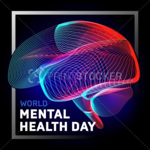 Vector human brain to world mental health day with abstract 3d geometry lines and gradient waves art to medical Alzheimer disease medicine think anatomy or aneurysm biology organ on dark background - PrintStocker.com