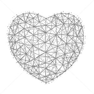 Vector illustration of heart to Happy Valentine's Day consisting of polygons, points and lines isolated on white background - PrintStocker.com