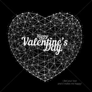Vector illustration of heart to Happy Valentine's Day consisting of polygons, points and lines on black background - PrintStocker.com