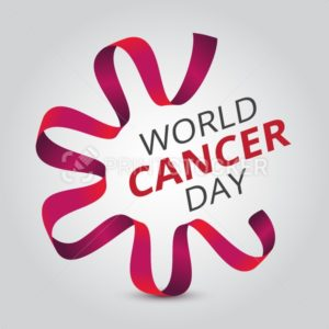 Vector illustration to 4 February – World Cancer Day with awareness red ribbon and text - PrintStocker.com