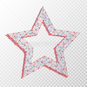 Vector polygonal abstract image of star consisting of dots, points and lines isolated on transparent background - PrintStocker.com