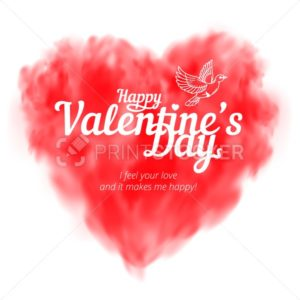 Vector red heart consisting of fog or smoke with lettering to Happy Valentine's Day isolated on white background - PrintStocker.com