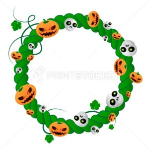 Vector round frame for Halloween holiday of green plant with skulls and pumpkins - PrintStocker.com