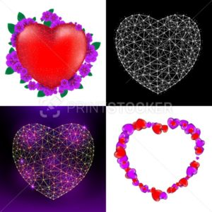 Vector set of Happy Valentine's Day greeting cards with red heart, flowers and heart consisting of polygons, lines and points - PrintStocker.com