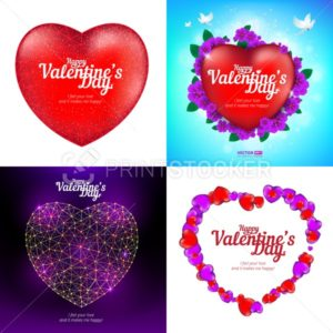 Vector set of Happy Valentine's Day greeting cards with red heart, flying birds, flowers and consisting of polygons, lines and points - PrintStocker.com