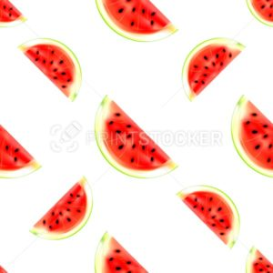 Watermelon slices seamless pattern isolated on white background - PrintStocker.com