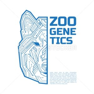 Zoo genetics logo. A half of a dog, coyote or wolf head consisting of microelectronic circuits and dots - PrintStocker.com