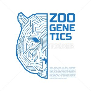 Zoo genetics logo. A half of a tiger or bear head consisting of microelectronic circuits and dots. - PrintStocker.com