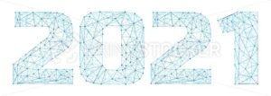2021 year triangle 3d digital web banner with futuristic numbers isolated on white background. Abstract vector polygonal wireframe consisting of dots, points and lines with texture of space starry sky - PrintStocker.com