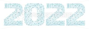2022 year triangle 3d digital web banner with futuristic numbers isolated on white background. Abstract vector polygonal wireframe consisting of dots, points and lines with texture of space starry sky - PrintStocker.com