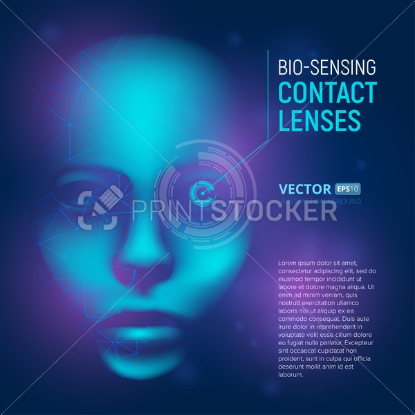 Bio-sensing contact lenses in realistic cyber mind face with polygonal shapes. Virtual artificial intelligence. Vector humanoid 3D digital concept illustration on technology abstract background - PrintStocker.com