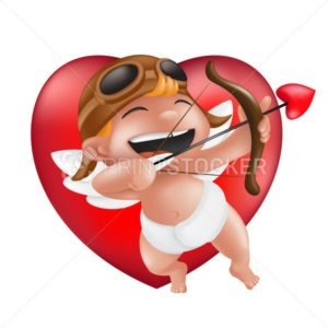 Cute little boy cupid in a diaper, helmet and pilot glasses, laughing and archery on a red heart. Vector illustration for 14th february Valentine's Day isolated on a white background - PrintStocker.com