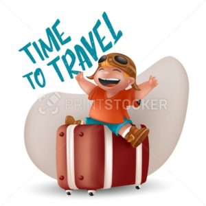 Laughing little boy in orange t-shirt and pilot glasses sitting with raising hands on brown suitcase. Kid traveler character vector Illustration with Time to Travel sign isolated on white background - PrintStocker.com
