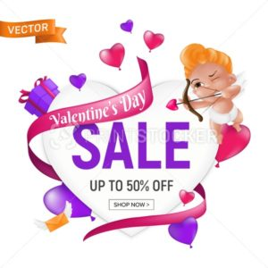 Valentine`s day sale banner or flyer design template with cute cartoon cupid or baby angel with bow and heart shape arrow. Vector illustration for gift voucher, certificate or coupon to February 14 - PrintStocker.com