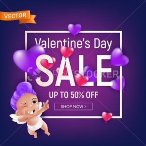 Valentine`s day sale purple banner or flyer design template with cute cartoon cupid or smiling baby angel with square frame. Vector illustration for gift voucher, certificate or coupon to February 14 - PrintStocker.com