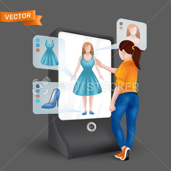 Young woman or girl trying on clothes in front 3D virtual display mirror with fitting simulation function. Vector illustration of online shopping via augmented reality on tablet with dark background - PrintStocker.com