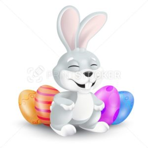 Cute Easter bunny sitting and laughing with decorated eggs. Vector illustration of squinting and smiling grey rabbit in 3d style isolated on white background. Cartoon mascot character for easter hunt - PrintStocker.com