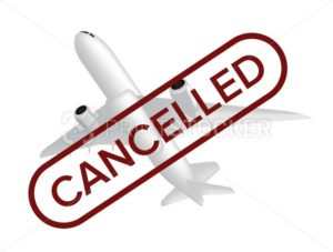 Cancelled flight vector illustration with missing airplane and red stamp on the front isolated on white background. Can be used in web design or advertising banner, poster, and other print layouts - PrintStocker.com