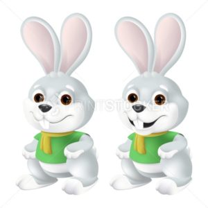Cute Easter bunny in yellow scarf and green shirt with big eyes and ears isolated on white background. Funny vector mascot character illustration of smiling grey rabbit in 3d cartoon style - PrintStocker.com