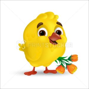 Cute and sweet happy easter baby chick with orange tulip flowers bouquet isolated on white background. Vector illustration of smiling yellow bird in 3d style funny cartoon mascot character - PrintStocker.com