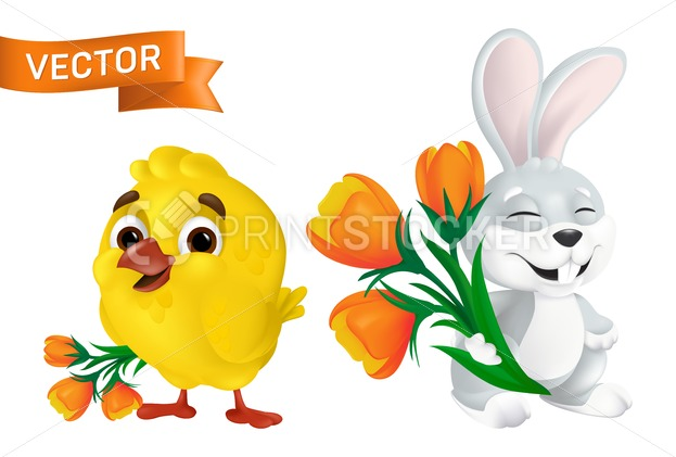Cute happy easter bunny and sweet baby chick with orange tulip flowers bouquet isolated on white background. Vector funny cartoon mascot character illustration of smiling grey rabbit and yellow bird - PrintStocker.com