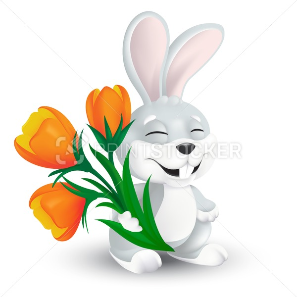 Cute happy easter bunny with orange tulip flowers bouquet isolated on white background. Vector illustration of squinting and smiling grey rabbit in 3d style funny cartoon mascot character - PrintStocker.com
