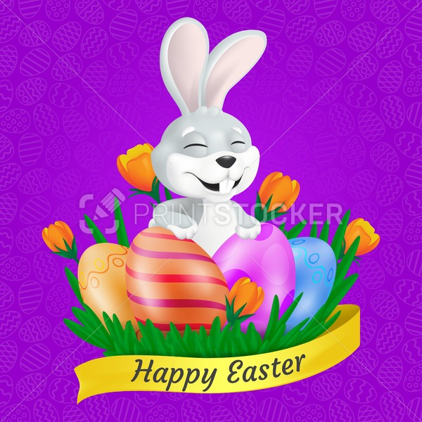 Cute smiling Easter Bunny with painted eggs on the grass, orange tulips and Easter ribbon. Vector illustration on colorful background. Can be used for greeting card design or other advertising layouts - PrintStocker.com