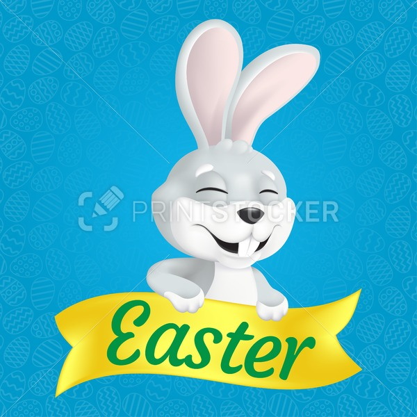 Cute smiling and squinting Easter Bunny with yellow ribbon. Vector illustration on blue background with outlined eggs. Can be used for greeting card design, web banner or other advertising layouts - PrintStocker.com