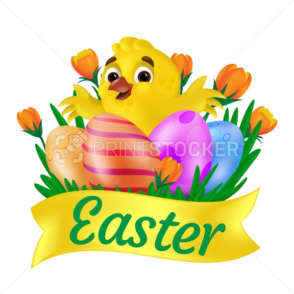 Cute smiling yellow chick hugging painted eggs on the grass with orange tulips and Easter ribbon. Vector illustration isolated on white background. Can be used for greeting card design or web banner - PrintStocker.com