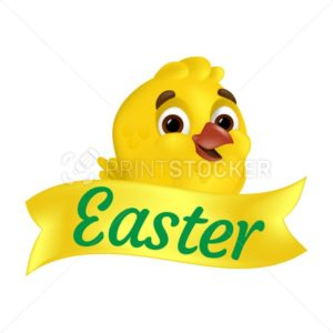 Cute smiling yellow chick with Easter ribbon. Vector illustration isolated on white background. Can be used for greeting card design or web banner - PrintStocker.com