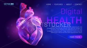 Digital health landing page background concept or hero banner design with human heart outline vector illustration. Medical healthcare website template for Cardiology learning or artery clot therapy - PrintStocker.com