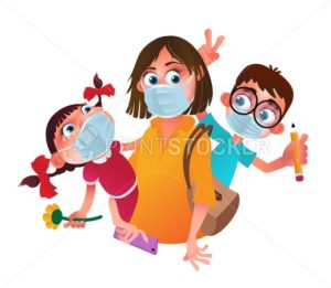 Family characters wearing protective medical masks from coronavirus prevention method. Vector cartoon illustration of a mother and children with hygiene or surgical masks isolated on white background - PrintStocker.com