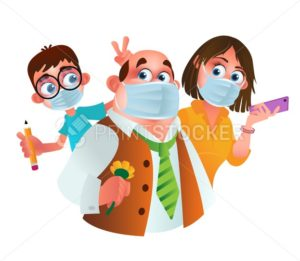 Family characters wearing protective medical masks from coronavirus prevention method. Vector cartoon illustration of father, mother and son with hygiene or surgical masks isolated on white background - PrintStocker.com