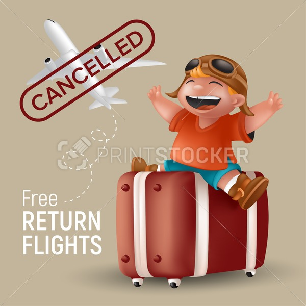Free return flight vector illustration with airplane and cartoon little boy in orange tshirt and pilot glasses sitting with raising hands on brown suitcase. Kid traveler character with cancelled stamp - PrintStocker.com