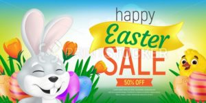 Happy Easter Sale web banner or flier template. Vector discount coupon illustration with cute bunny, chick, tulips and eggs on colorful background. Can be used for greeting card design or voucher - PrintStocker.com