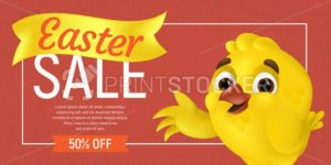 Happy Easter Sale web banner or flier template. Vector discount coupon illustration with cute chick showing on the discount offer and outline eggs on colorful background. Can be used for greeting card - PrintStocker.com