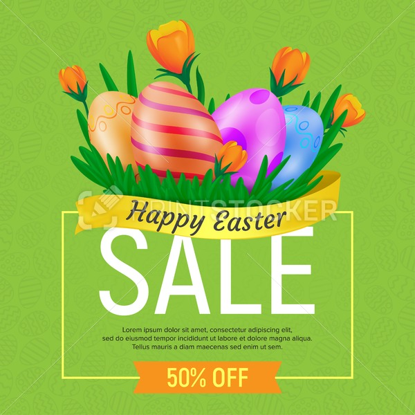 Happy Easter Sale web banner or poster template. Vector square discount coupon illustration with tulips and eggs on seamless pattern background. Can be used for greeting cards or advertising vouchers - PrintStocker.com