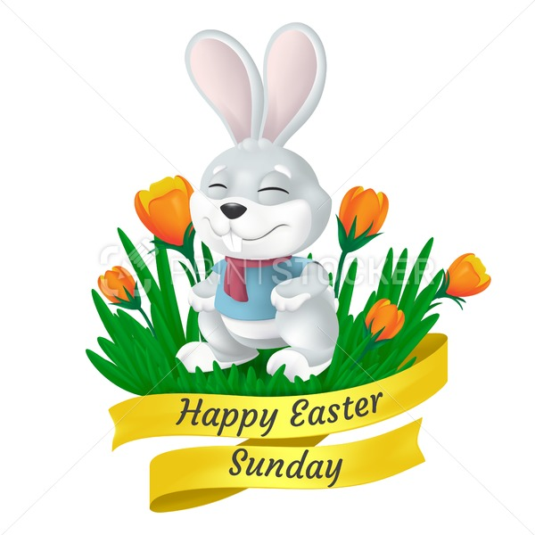 Happy Easter Sunday golden ribbon with cute bunny and tulip flowers isolated on white background. Vector illustration of squinting and smiling grey rabbit in 3d style funny cartoon mascot character - PrintStocker.com