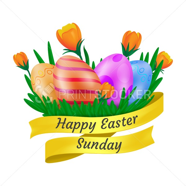 Happy Easter Sunday golden ribbon with cute orange tulip flowers and decorative eggs isolated on white background. Vector illustration in 3d cartoon style to creating your greeting card graphic design - PrintStocker.com