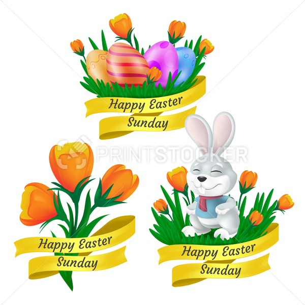 Happy Easter Sunday set with golden ribbon, cute bunny, decorative eggs and tulip flowers isolated on white background. Vector illustration in 3d style to creating your greeting card or banner design - PrintStocker.com