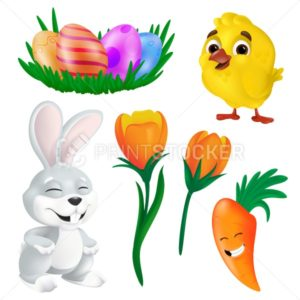 Happy Easter design elements vector set. Spring bunny, cute yellow chick, smiling carrot, tulip flowers and decorative eggs. Funny cartoon characters illustration isolated on white background - PrintStocker.com