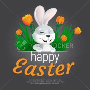 Happy Easter web banner or poster template. Vector square postcard illustration with cute smiling bunny and tulips on seamless pattern background. Can be used for greeting card design or voucher - PrintStocker.com