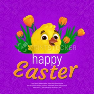 Happy Easter web banner or poster template. Vector square postcard illustration with cute smiling yellow chick and tulips on colorful background. Can be used for greeting card design or voucher - PrintStocker.com