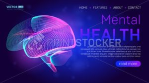 Mental health landing page background concept or hero banner design with human brain outline vector illustration. Medical healthcare website template for neurology learning or cancer illness therapy - PrintStocker.com