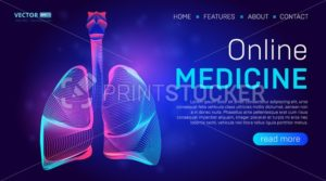Online medicine landing page background concept or hero banner design with human lungs vector illustration. Pulmonology healthcare website template for Pneumonia, Tuberculosis or Coronavirus therapy - PrintStocker.com
