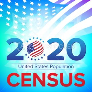 United States Population Census 2020 banner. Vector illustration with American striped flag and stars. Can be used for landing page web template, badge or advertisement poster and flier graphic design - PrintStocker.com