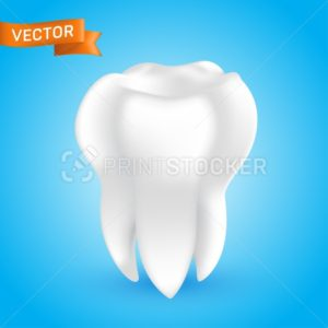 White healthy and clean human tooth, 3D style vector glowing teeth illustration isolated on blue background, can be used as a whitening procedure, dental health icon or in dentistry web design element - PrintStocker.com